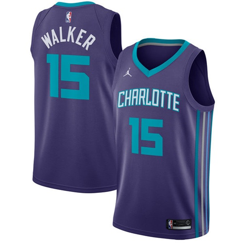 Nike Hornets #15 Kemba Walker Purple NBA Jordan Swingman Statement Edition Jersey