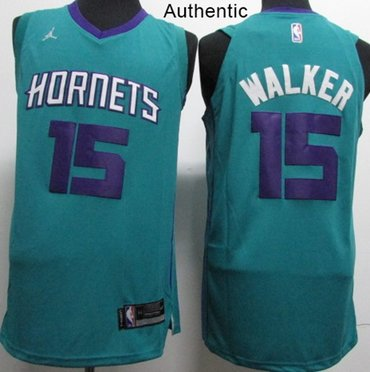 Nike Hornets #15 Kemba Walker Teal NBA Jordan Authentic Icon Edition Jersey