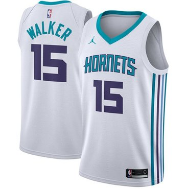 Nike Hornets #15 Kemba Walker White NBA Jordan Swingman Association Edition Jersey