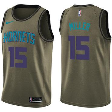 Nike Hornets #15 Percy Miller Green Salute to Service NBA Swingman Jersey
