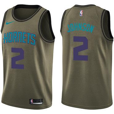 Nike Hornets #2 Larry Johnson Green Salute to Service NBA Swingman Jersey