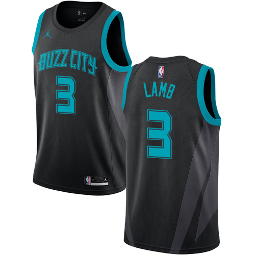 Nike Hornets #3 Jeremy Lamb Black NBA Jordan Swingman City Edition 2018 19 Jersey