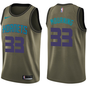 Nike Hornets #33 Alonzo Mourning Green Salute to Service NBA Swingman Jersey