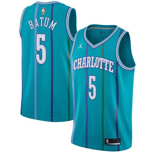 Nike Hornets #5 Nicolas Batum Aqua NBA Jordan Swingman Hardwood Classics Jersey