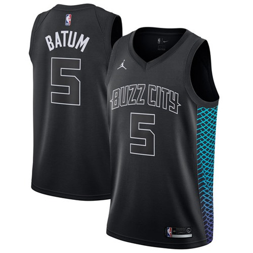Nike Hornets #5 Nicolas Batum Black NBA Jordan Swingman City Edition Jersey