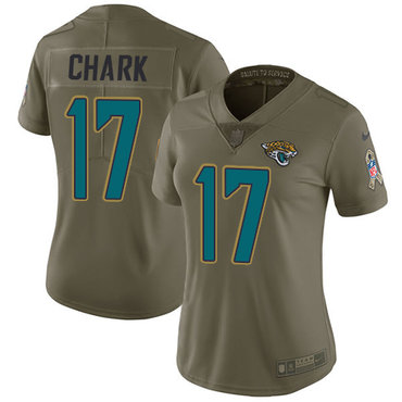 Nike Jaguars #17 DJ Chark Olive Women's Stitched NFL Limited 2017 Salute to Service Jersey
