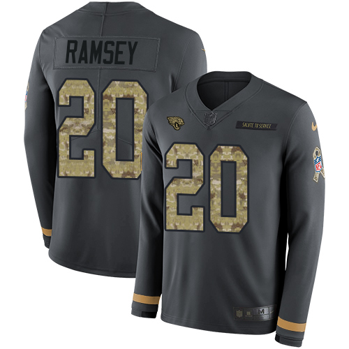 Nike Jaguars #20 Jalen Ramsey Anthracite Salute to Service Men's Stitched NFL Limited Therma Long Sleeve Jersey