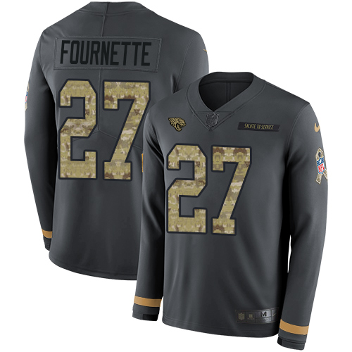 Nike Jaguars #27 Leonard Fournette Anthracite Salute to Service Men's Stitched NFL Limited Therma Long Sleeve Jersey