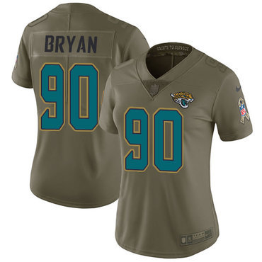 Nike Jaguars #90 Taven Bryan Olive Women's Stitched NFL Limited 2017 Salute to Service Jersey