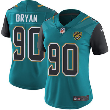 Nike Jaguars #90 Taven Bryan Teal Green Team Color Women's Stitched NFL Vapor Untouchable Limited Jersey