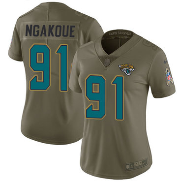 Nike Jaguars #91 Yannick Ngakoue Olive Women's Stitched NFL Limited 2017 Salute to Service Jersey