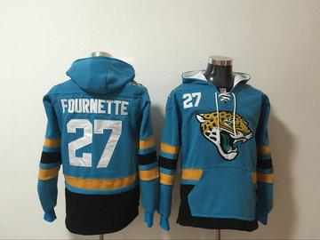 Nike Jaguars 27 Leonard Fournette Teal All Stitched Hooded Sweatshirt