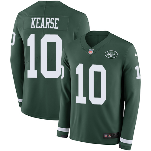 Nike Jets #10 Jermaine Kearse Green Team Color Men's Stitched NFL Limited Therma Long Sleeve Jersey