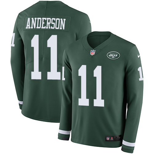 Nike Jets #11 Robby Anderson Green Team Color Men's Stitched NFL Limited Therma Long Sleeve Jersey