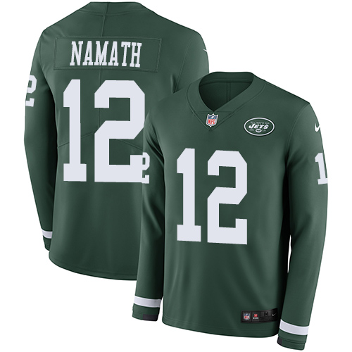 Nike Jets #12 Joe Namath Green Team Color Men's Stitched NFL Limited Therma Long Sleeve Jersey