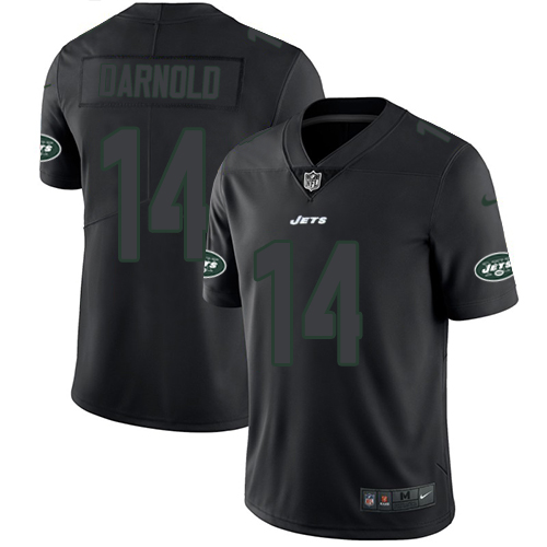 Nike Jets #14 Sam Darnold Black Men's Stitched NFL Limited Rush Impact Jersey