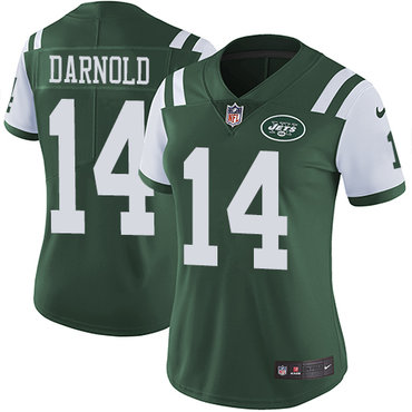Nike Jets #14 Sam Darnold Green Team Color Women's Stitched NFL Vapor Untouchable Limited Jersey