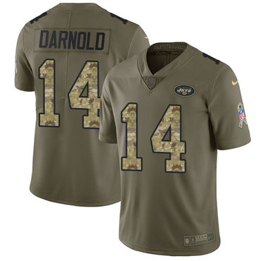 Nike Jets #14 Sam Darnold Olive Camo Youth Stitched NFL Limited 2017 Salute to Service Jersey
