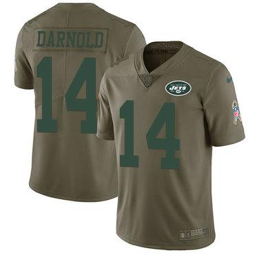 Nike Jets #14 Sam Darnold Olive Youth Stitched NFL Limited 2017 Salute to Service Jersey
