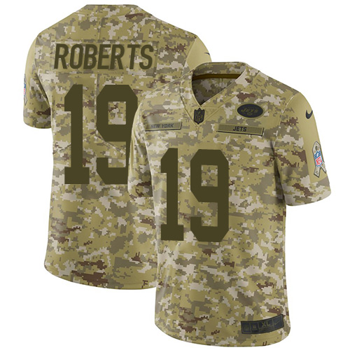 Nike Jets #19 Andre Roberts Camo Men's Stitched NFL Limited 2018 Salute To Service Jersey