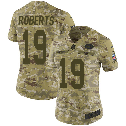 Nike Jets #19 Andre Roberts Camo Women's Stitched NFL Limited 2018 Salute to Service Jersey