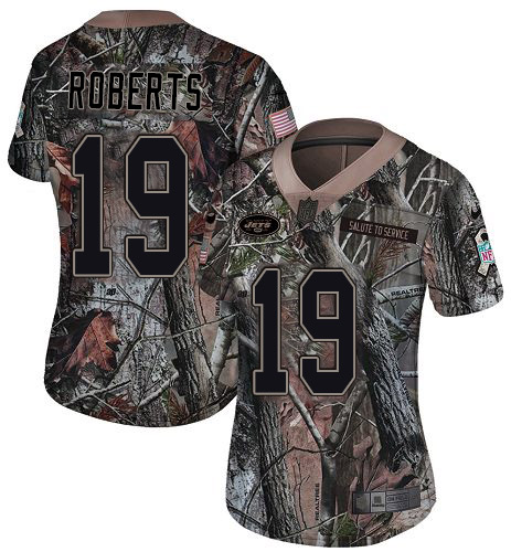 Nike Jets #19 Andre Roberts Camo Women's Stitched NFL Limited Rush Realtree Jersey