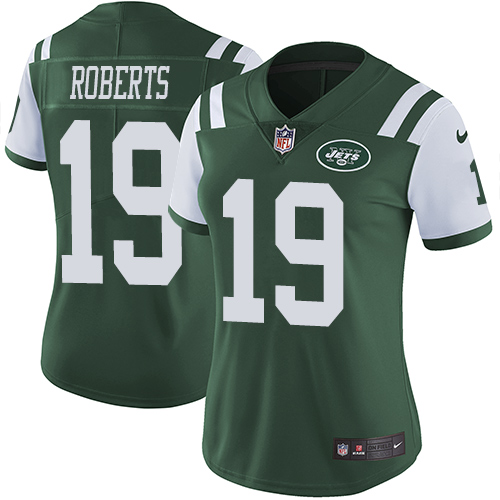 Nike Jets #19 Andre Roberts Green Team Color Women's Stitched NFL Vapor Untouchable Limited Jersey