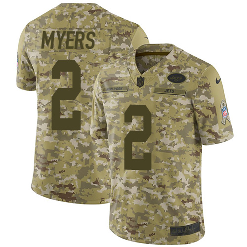 Nike Jets #2 Jason Myers Camo Men's Stitched NFL Limited 2018 Salute To Service Jersey