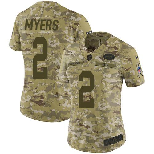 Nike Jets #2 Jason Myers Camo Women's Stitched NFL Limited 2018 Salute to Service Jersey