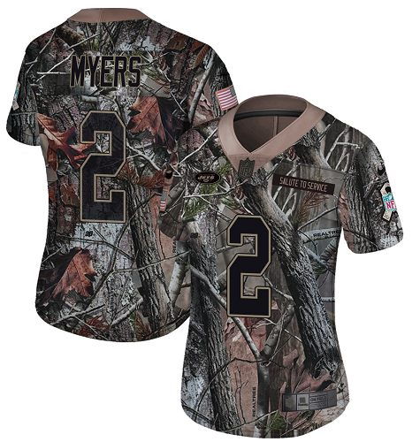 Nike Jets #2 Jason Myers Camo Women's Stitched NFL Limited Rush Realtree Jersey
