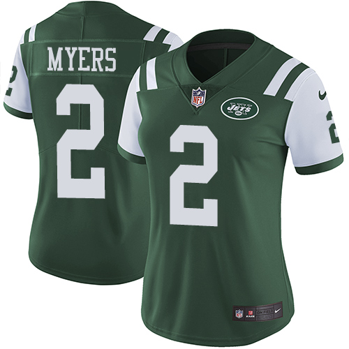 Nike Jets #2 Jason Myers Green Team Color Women's Stitched NFL Vapor Untouchable Limited Jersey