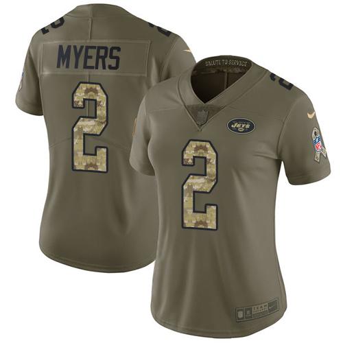 Nike Jets #2 Jason Myers Olive Camo Women's Stitched NFL Limited 2017 Salute to Service Jersey