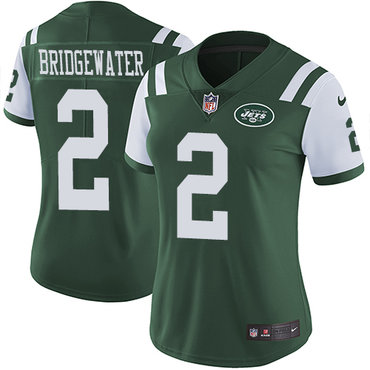 Nike Jets #2 Teddy Bridgewater Green Team Color Women's Stitched NFL Vapor Untouchable Limited Jersey