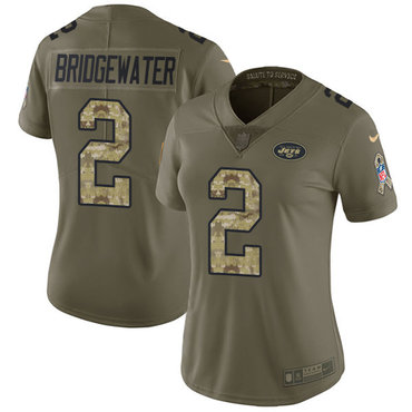 Nike Jets #2 Teddy Bridgewater Olive Camo Women's Stitched NFL Limited 2017 Salute to Service Jersey