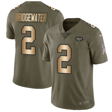 Nike Jets #2 Teddy Bridgewater Olive Gold Youth Stitched NFL Limited 2017 Salute to Service Jersey