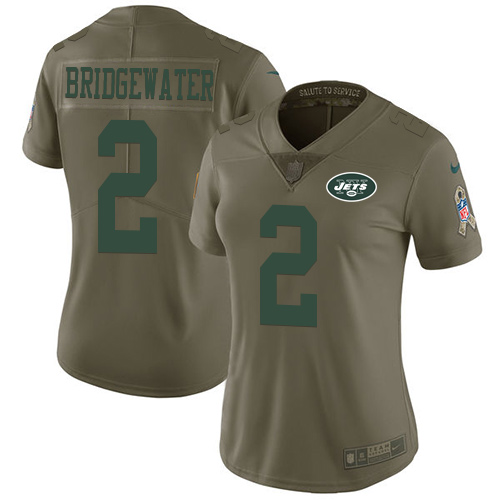 Nike Jets #2 Teddy Bridgewater Olive Women's Stitched NFL Limited 2017 Salute to Service Jersey