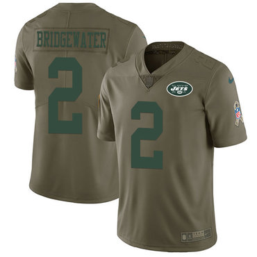 Nike Jets #2 Teddy Bridgewater Olive Youth Stitched NFL Limited 2017 Salute to Service Jersey