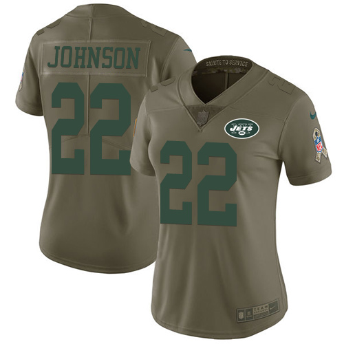 Nike Jets #22 Trumaine Johnson Olive Women's Stitched NFL Limited 2017 Salute to Service Jersey