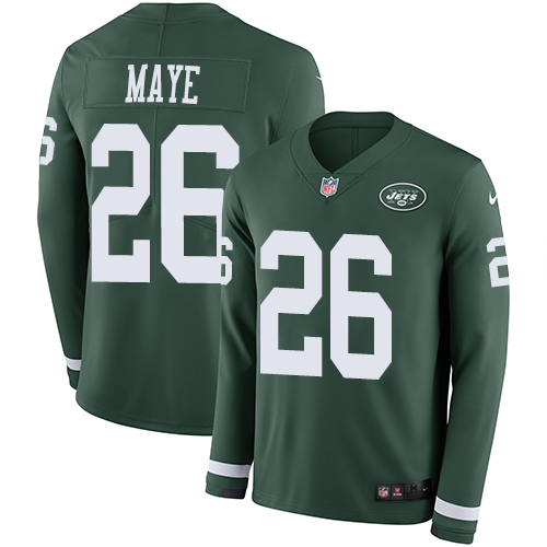 Nike Jets #26 Marcus Maye Green Team Color Men's Stitched NFL Limited Therma Long Sleeve Jersey