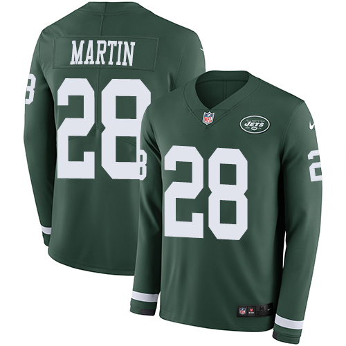 Nike Jets #28 Curtis Martin Green Team Color Men's Stitched NFL Limited Therma Long Sleeve Jersey