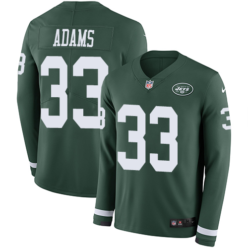 Nike Jets #33 Jamal Adams Green Team Color Men's Stitched NFL Limited Therma Long Sleeve Jersey