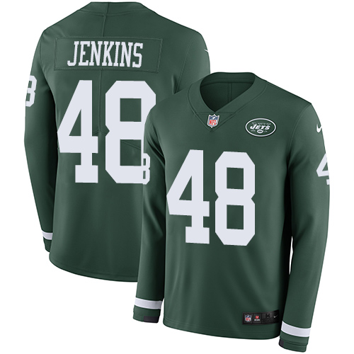 Nike Jets #48 Jordan Jenkins Green Team Color Men's Stitched NFL Limited Therma Long Sleeve Jersey