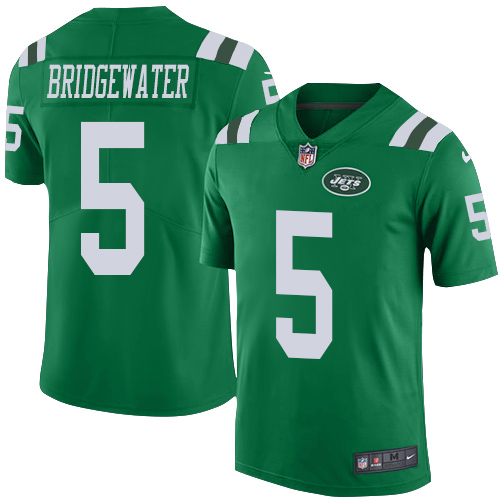 Nike Jets #5 Teddy Bridgewater Green Men's Stitched NFL Limited Rush Jersey