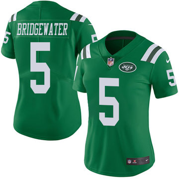 Nike Jets #5 Teddy Bridgewater Green Women's Stitched NFL Limited Rush Jersey