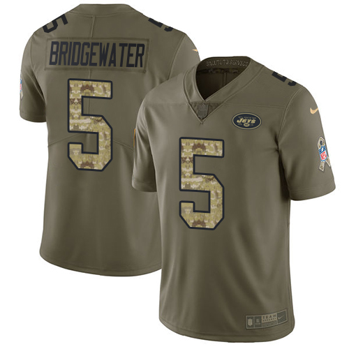 Nike Jets #5 Teddy Bridgewater Olive Camo Men's Stitched NFL Limited 2017 Salute To Service Jersey