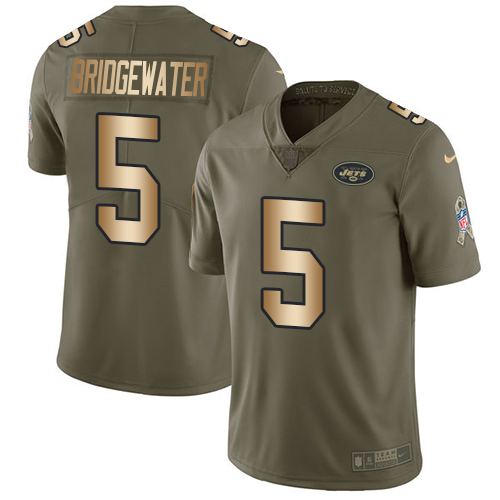 Nike Jets #5 Teddy Bridgewater Olive Gold Men's Stitched NFL Limited 2017 Salute To Service Jersey