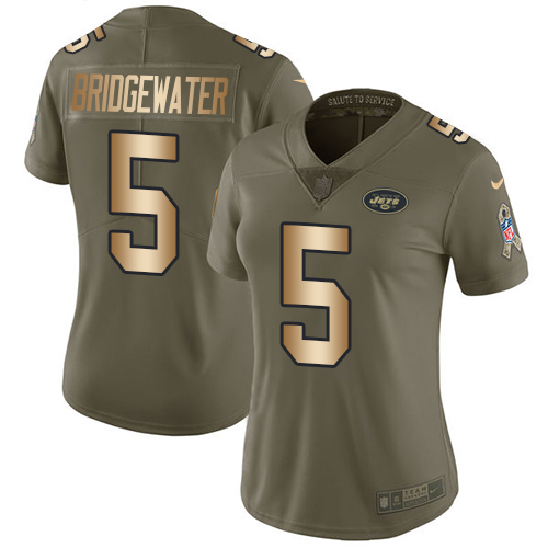 Nike Jets #5 Teddy Bridgewater Olive Gold Women's Stitched NFL Limited 2017 Salute to Service Jersey