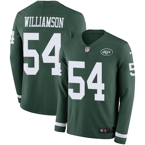 Nike Jets #54 Avery Williamson Green Team Color Men's Stitched NFL Limited Therma Long Sleeve Jersey