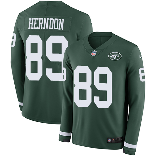 Nike Jets #89 Chris Herndon Green Team Color Men's Stitched NFL Limited Therma Long Sleeve Jersey