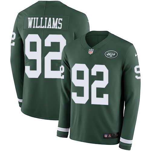Nike Jets #92 Leonard Williams Green Team Color Men's Stitched NFL Limited Therma Long Sleeve Jersey